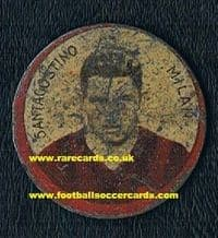 1930 2-sided metal card with Santagostino & Compiani of AC Milan DEA Gettone